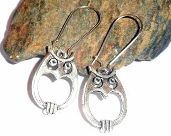 Tibetan Silver Owl Charm Earrings earthegy