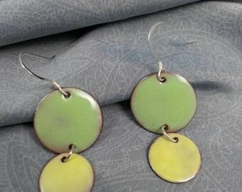 Two tone dangle enameled copper earrings