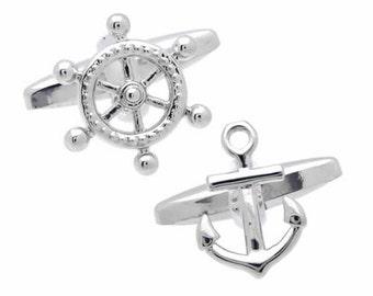 Anchor and Ship Wheel Cufflinks