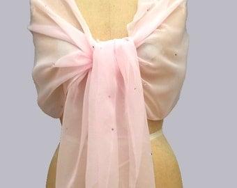 Cotton Candy Chiffon Shawl Scarf Wrap with Rhinestones