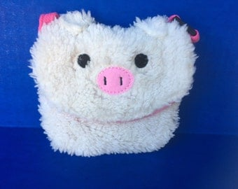 Little pig fluffy small bag pouchette, velcro clasp with leash