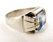 1930s art deco tank ring in French silver and faux blue spinel or blue topaz, Jewish history.