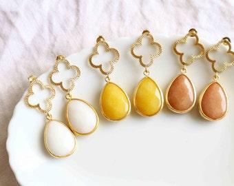 Gold Clover Dangle Earrings / Glass Drop Earrings / Wedding Earrings -Design your own.