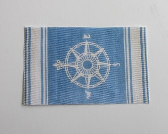 Miniature Nautical Compass Rug in Beach Blue for Dollhouse in 1:12 Scale
