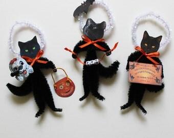 Black Cat Halloween Vintage Look Chenille Ornaments Set One