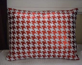 Red Foil Metallic Houndstooth Pillow Covers