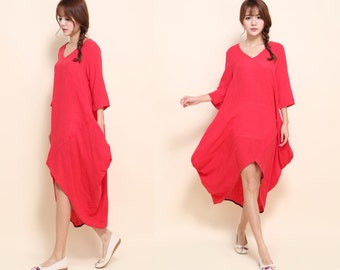 Free Style Diamond Shaped Dress/ Flower Bud V- Neckline Linen  Dress with Pockets/ 34 Colors/ ANY SIZE/ RAMIES