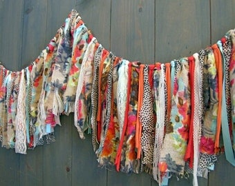 Sweet and Whimsical Fabric Fringe Garland, Wedding, Baby Shower Decor, Nursery Wall Hanging,
