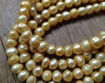 BLOWOUT SALE! Fresh Water PEARLS Yellow Baroque Full Strand Beads 7-8mm Fat Round.. Consistent and Shiny!!