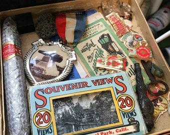Box of Vintage Souvenirs and Random Collectibles