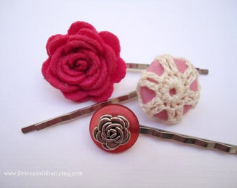 Felt Crochet Vintage button hair pins - Magenta light pink rosy flowers roses fuchsia plum floral theme girl fun decorative hair accessories