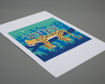 The Leopard and The Lemurs - Children's Animal Art - Limited Edition Print - iOTA iLLUSTRATION