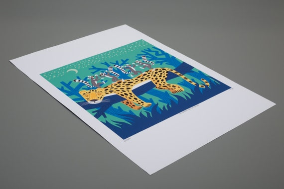 The Leopard and The Lemurs - Children's Animal Art - Limited Edition Print by Oliver Lake - iOTA iLLUSTRATION