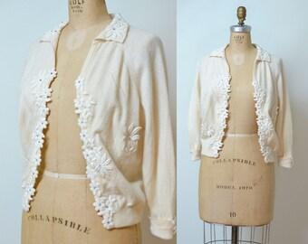 1950s Cream Wool Cardigan Applique