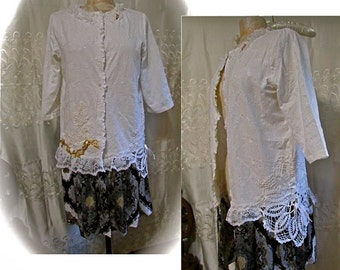 White Embellished Blouse, altered couture clothing, refashioned recreated clothes, womens long tunic shirt  MEDIUM LARGE