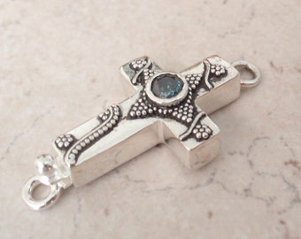 Sterling Silver Box Clasp Sideways Cross Blue CZ Granulation Single Strand Qty. 1 C034