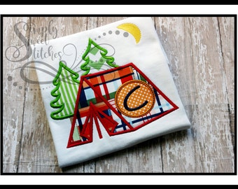 Camping Tent Applique with Free Monogramming