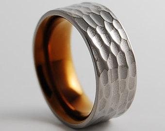 Titanium Ring, Wedding Band, Mens Titanium Wedding Ring, Mens Titanium Wedding Band, Promise Ring, Apollo Band with Comfort Fit Interior