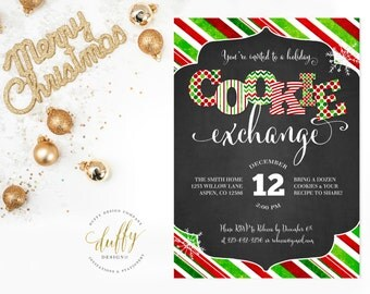 Holiday Cookie Exchange Invitation, Christmas Cookie Exchange Invite, Cookie Swap Invite, Cookie Decorating Invitation, Holiday Invite, Red