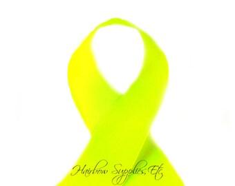 Neon Yellow 3 inch ribbon - Bright Yellow, Lemon Yellow, Yellow Hair Supplies, Yellow Ribbon By The Yard - Hairbow Supplies, Etc.