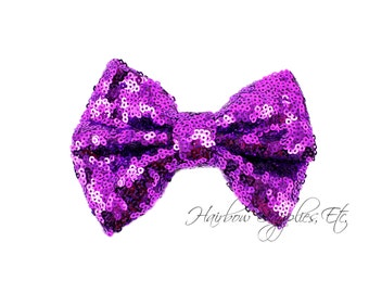Purple Large Sequin Bows 4 inch Bows - Bow Applique, Sequin Bow, Large Bows, Big Bows, Wholesale Bows, Sequin Bow Tie, Sequin Bow Headband