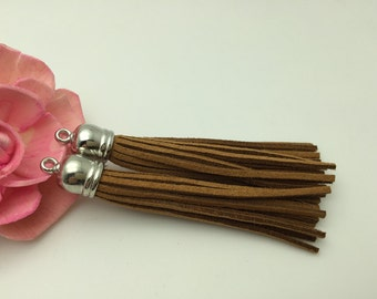 50 Pieces 86x12MM Light Brown Color Faux Suede Leather Tassel With Plastic Silver Top Cap,Phone Accessories, Necklace Tassel Pendant