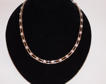 MODERN RHINESTONE NECKLACE - Cool Combination of Modern & Rhinestone - Faceted and Prong Set