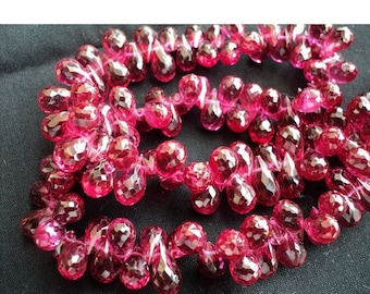 50% VALENTINE SALE Lab Created Ruby Beads/ Tear Drop Beads/ Briolette Beads/ Faceted Briolette/ Imitation Ruby/ 120 Pieces, 6x12mm Each, 16