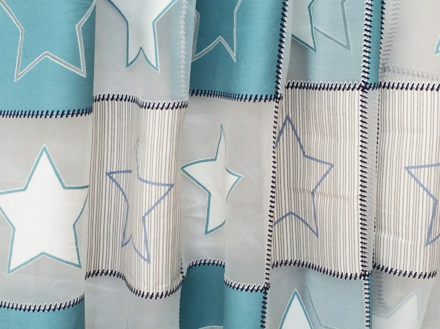 Blue twinkling stars sheer curtain fabric by the yard for Kids drapery fabric