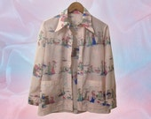 70s Pale Pink Art Deco Pointy Collar Patch Pocket Polyester Blouse Overshirt Summer Jacket size Medium