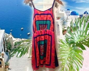 90s Pink Turquoise Floral Scarf Print Boho Hippie Blouson Sundress size Medium