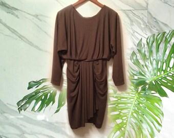80s Draped Olive Green Dolman Sleeve Blouson Back Button Mini Dress size Medium