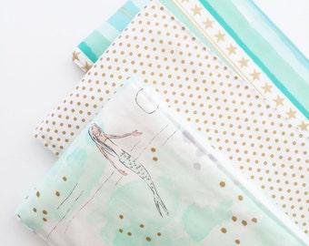 Monogrammed Burp Cloth Trio - Mermaid Love - Burp Cloth Gift Set - Gold Metallic Burp Cloth - Under the Sea - Mermaid Burp Cloths