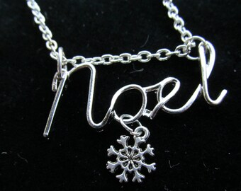 Christmas Noel with snowflake charm Necklace A 16