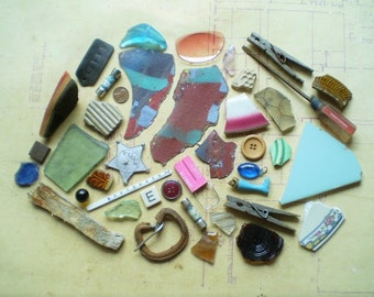 40 Found Objects for Altered Art, Sculpture or Assemblage - Salvaged Supplies - Ceramic Metal Plastic Wood Glass