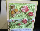 Mother's Day card flowers butterfly handmade