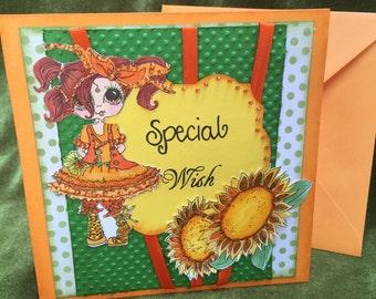 Happy birthday card shabby chic victorian style women with flower handmade