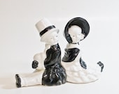 Vintage Bookends Ceramic Children In Black And White Formal Dress