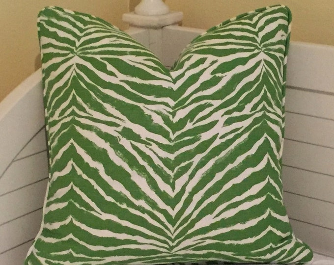 Quadrille China Seas Nairobi in Jungle Green and Tint Designer Pillow Cover - Both Sides with Self Piping - Square, Lumbar and Euro Sizes
