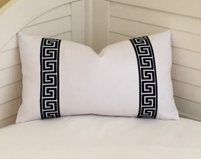 Kravet White Linen with Black and White Greek Key Tape Lumbar Designer Pillow Cover - Other Trim Colors Available
