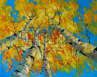 Autumn Birch Tree Forest Landscape Painting Oil on Canvas Textured Palette Knife Modern Original Art Seasons 16X20 by Willson Lau