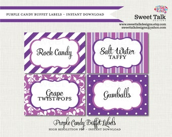 Printable Labels - Printable Candy Buffet Labels - Printable Purple Labels - Purple Dessert Cards - Purple Tent Cards - Purple Foldable Card