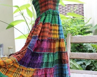 Thai Woven Cotton Long Tiered Skirt/ Dress - OMWV 1610-17