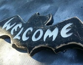 Wooden Halloween Bat Welcome Sign