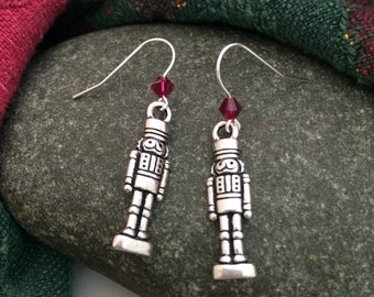 Sterling Silver Swarovski Nutcracker Earrings - choose your crystal color