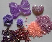 Kawaii decoden deco diy purple bow cabochon mix    46---USA seller