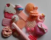 Kawaii cabochon decoden deco diy charm  # 136. mini pink sweets  15 pcs---USA seller
