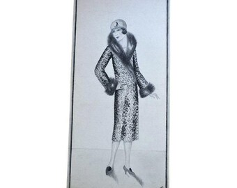 1920s Original Fashion Sketches - Set of 2