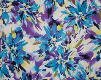 Turquoise and Purple Splashy Floral Print Stretch Cotton Sateen Fabric--By the Yard