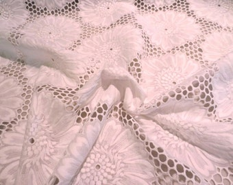 Fabulous White Floral Design Swiss Cotton Embroidered Eyelet Fabric--By the Yard